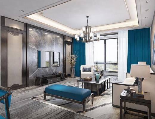 新中式客厅, 中式客厅, 客餐厅, 新中式沙发, 中式沙发, 沙发组合, 沙发茶几组合