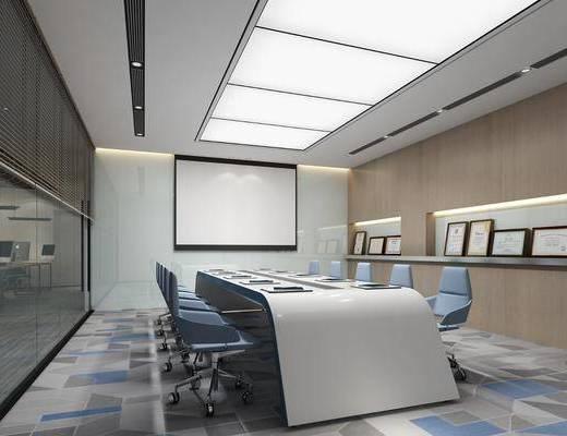 会议室, 会议桌, 投影仪, 办公椅, 单人椅, 办公桌, 现代