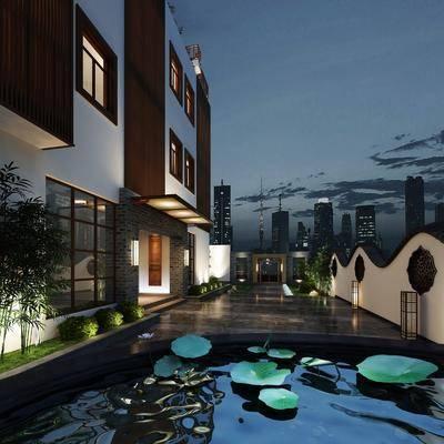 庭院, 门面门头, 竹子, 草地, 落地灯, 绿植植物, 中式
