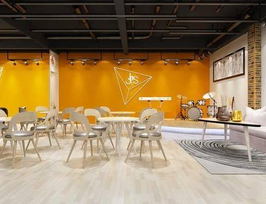 舞蹈室, 桌子, 单人椅, 多人沙发, 茶几, 鼓, 装饰画, 挂画, 照片墙, 射灯, 前台, 展示台, 装饰架, 电子琴, 墙饰, 置物架, 摆件, 装饰品, 陈设品, 现代