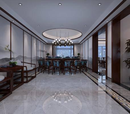 新中式餐厅, 餐桌, 会议间, 单椅, 置物架, 麻雀台, 新中式
