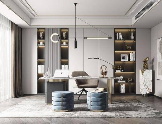 书桌, 吊灯, 摆件组合, 装饰品, 书柜, 装饰画