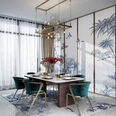 餐厅, 餐桌椅, 新中式, 花瓶, 吊灯, 单椅, 餐桌, 桌子, 餐具, 窗帘, 中式