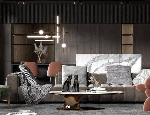沙发组合, 吊灯, 茶几, 单椅, 摆件
