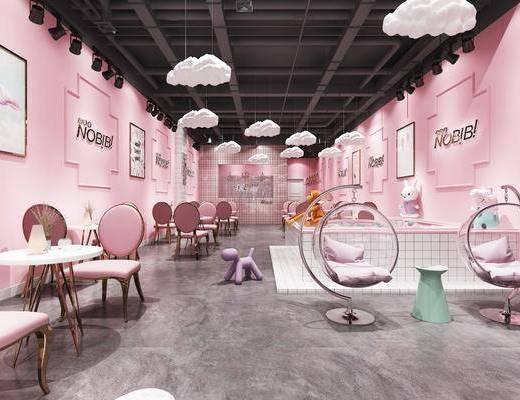 奶茶店, 甜品店, 餐桌, 餐椅, 单人椅, 摇椅, 装饰画, 挂画, 摆件, 玩具, 玩偶, 装饰品, 陈设品, 现代