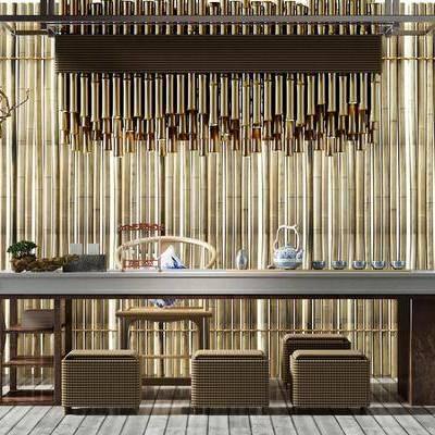中式茶室, 茶室, 茶桌, 茶具, 花瓶, 椅子