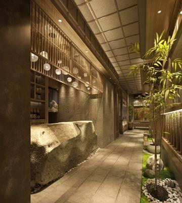 餐廳, 收銀臺, 竹子, 綠植植物, 吊燈, 日式