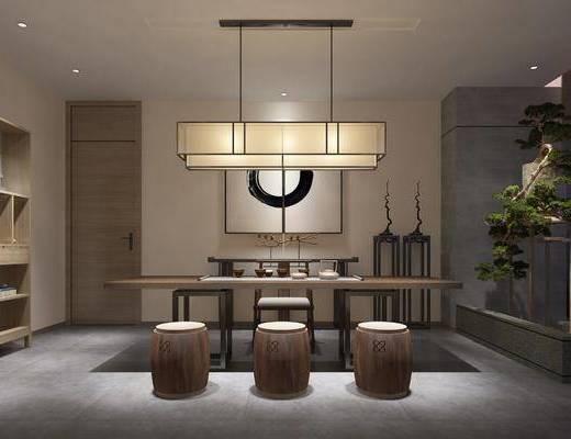 茶室, 茶馆, 桌子, 单人椅, 茶桌, 吊灯, 装饰画, 挂画, 凳子, 装饰柜, 装饰架, 盆栽, 摆件, 新中式