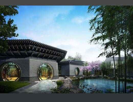 中式园林建筑, 园林, 景观, 古建, 小景
