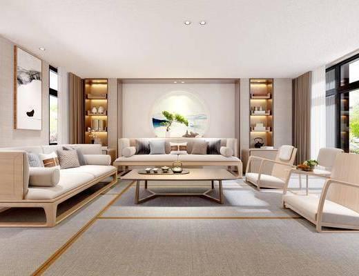 日式, 客厅, 沙发, 椅子, 茶几, 电视柜