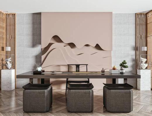 茶桌, 泡茶椅, 实木方凳, 盆栽, 墙饰, 边柜, 吊灯, 饰品摆件