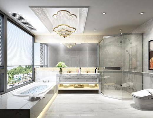 卫生间, 浴缸, 洗手台, 马桶, 装饰画, 挂画, 花洒, 吊灯, 水晶吊灯, 现代