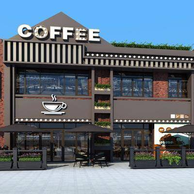 咖啡厅, 户外建筑, 门头, 美式, 工业风户外建筑