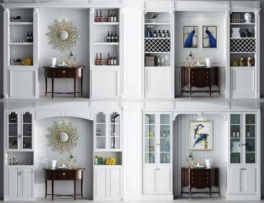 柜架组合, 酒柜, 边柜, 装饰柜, 挂画, 摆件, 装饰品, 红酒, 墙饰, 陈设品, 美式