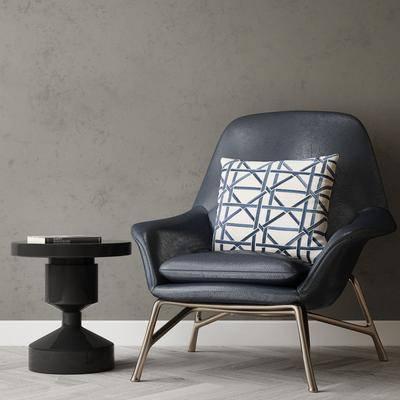 现代沙发椅, 单椅, 边几
