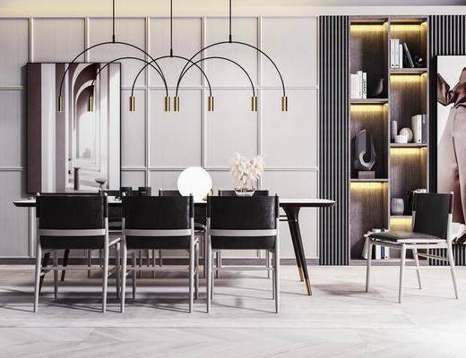 餐桌, 桌椅组合, 吊灯, 餐具组合, 单椅, 书柜, 书籍