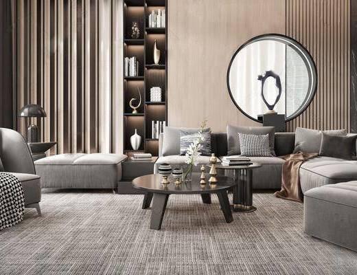 沙发组合, 茶几, 单椅, 墙饰