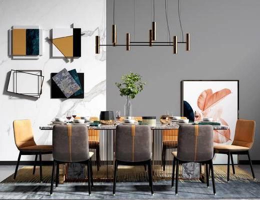 现代, 北欧, 轻奢, 餐厅, 餐桌椅, 吊灯