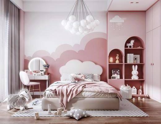 儿童床, 梳妆台, 装饰柜, 衣柜, 玩具, 装饰品, 吊灯, 椅子