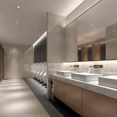现代公共卫生间, 现代卫生间, 卫生间, 现代, 洗手盆, 小便池