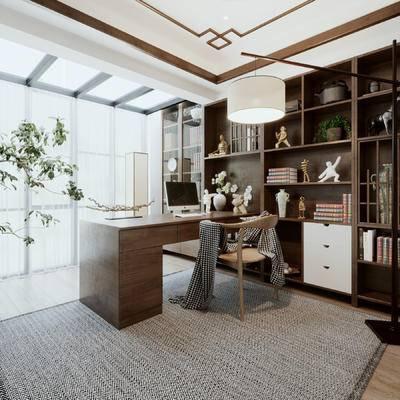 中式书房, 书桌椅子书柜落地灯