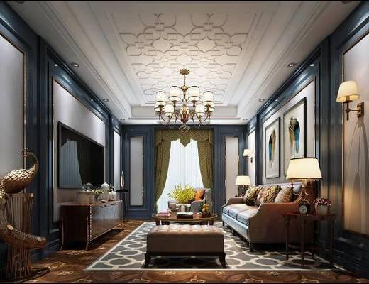 美式客厅, 美式, 美式沙发组合, 孔雀雕塑, 美式吊灯, 壁灯
