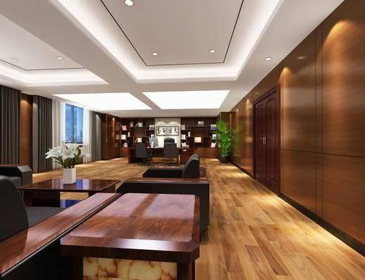 办公桌, 书桌, 办公椅, 单人椅, 盆栽, 装饰柜, 书柜, 单人沙发, 摆件, 装饰品, 陈设品, 中式