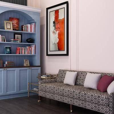 装饰柜, 摆件, 书籍, 挂画, 装饰画, 多人沙发, 美式