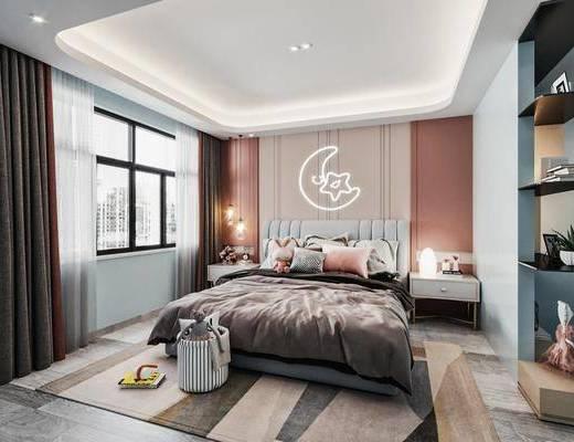 儿童床, 床头柜, 玩具, 窗帘, 吊灯, 地毯
