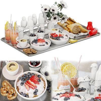 田园风, 端盘, 食物, 水果, 面包, 饮料, 调味瓶, 装饰花
