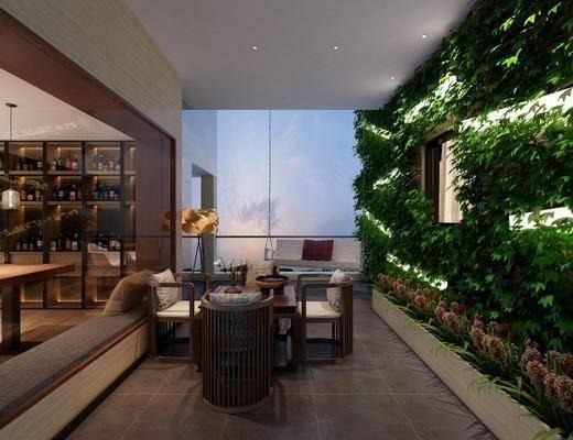 花园阳台, 植物墙, 单人椅, 落地灯, 茶桌, 酒柜, 装饰柜, 新中式