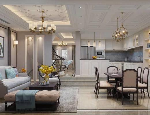 客厅, 餐厅, 美式客餐厅, 沙发组合, 茶几, 摆件组合, 吊灯, 花瓶花卉, 桌椅组合, 单椅, 餐具, 美式