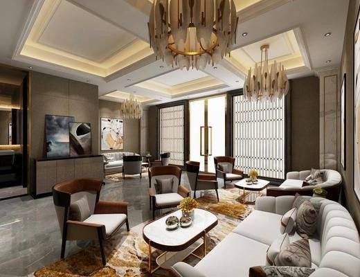 售楼处, 多人沙发, 双人沙发, 吊灯, 单人沙发, 茶几, 玄关柜, 边柜, 装饰画, 挂画, 现代轻奢