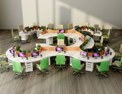 现代, 办公室, 办公区, 办公桌, 电脑桌, 办公椅, 单椅, 盆栽