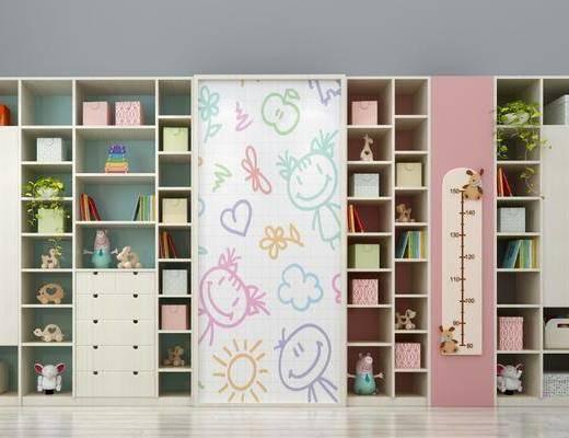 儿童书柜, 装饰柜, 玩具摆件, 摆件组合, 现代