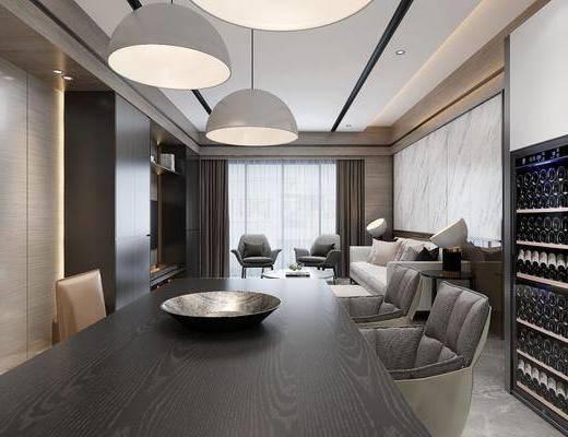 客厅, 餐厅, 多人沙发, 茶几, 单人沙发, 脚踏沙发, 边几, 台灯, 吊灯, 餐桌, 餐椅, 单人椅, 现代