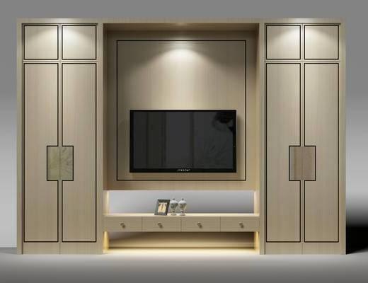 中式衣柜, 电视机, 电视柜, 衣服