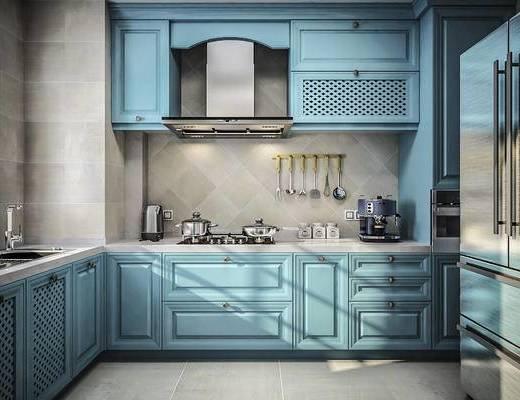 厨房, 橱柜, 抽油烟机, 烤箱, 厨具