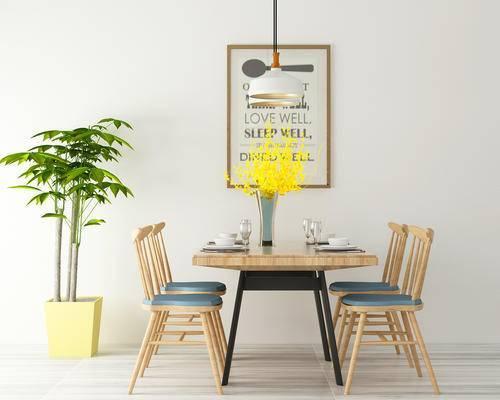 餐厅, 餐桌, 餐桌椅, 椅子, 绿植, 装饰画, 吊灯
