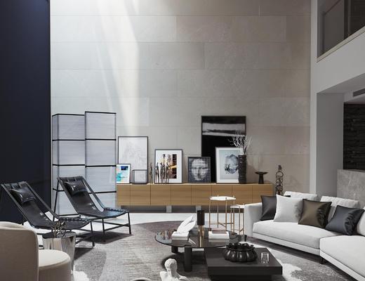 现代客厅, 装饰柜, 茶几组合, 躺椅, 雕塑品