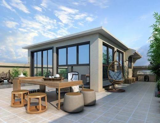 现代阳台, 阳台, 花园