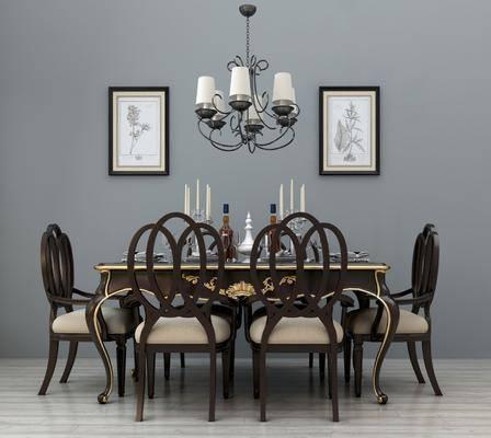 餐桌椅组合, 餐桌, 餐椅, 单人椅, 摆件, 装饰品, 陈设品, 装饰画, 挂画, 吊灯, 美式