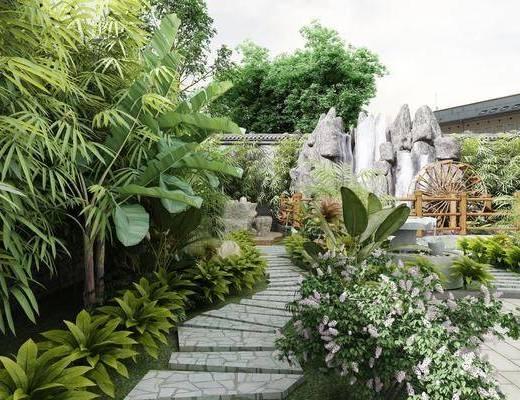 庭院, 绿植, 景观, 假山