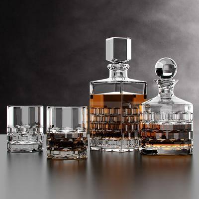 现代酒杯酒水组合, 现代, 酒杯, 酒水, 酒瓶, 玻璃杯