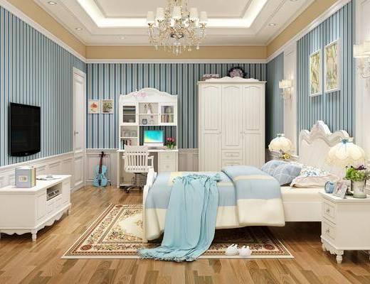 电视柜, 衣柜, 写字桌, 吊灯, 装饰画, 床头柜, 壁灯