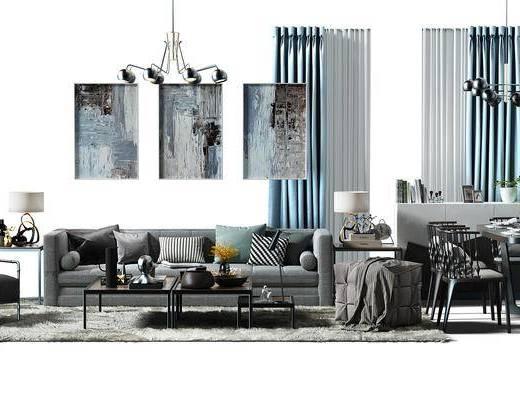 沙发椅, 盆景, 植物, 吊灯, 地毯, 软装搭配, 窗帘, 餐桌椅组合, 桌椅, 餐桌, 组合桌椅, 沙发凳, 现代, 北欧