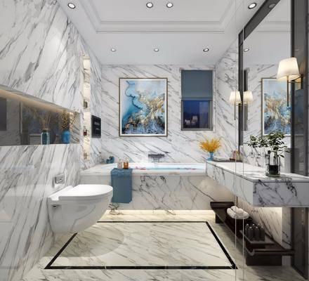 衛生間, 浴缸, 馬桶, 壁燈, 裝飾鏡, 裝飾畫, 掛畫, 中式