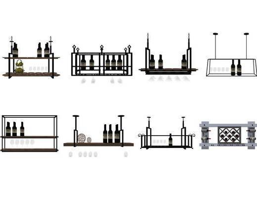 酒杯架, 酒柜, 柜架组合, 酒瓶