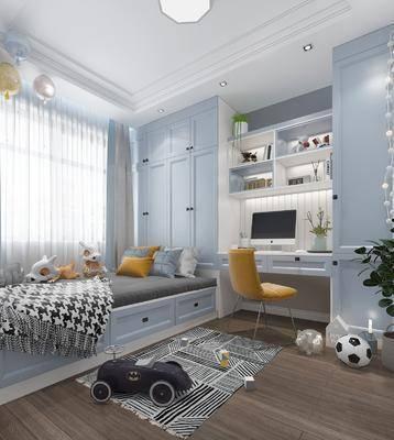 儿童房, 北欧儿童房, 榻榻米, 床具组合, 书柜, 摆件组合