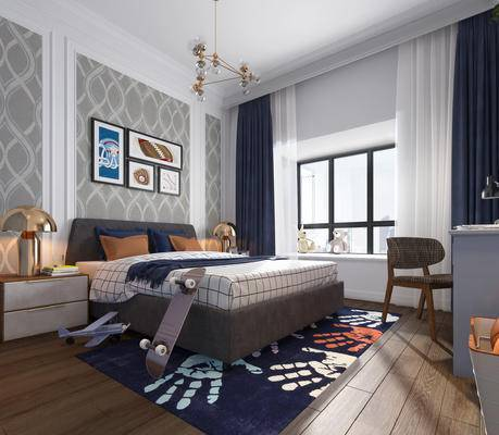 现代卧室, 儿童房, 男孩房, 床, 椅子, 吊灯, 床头柜